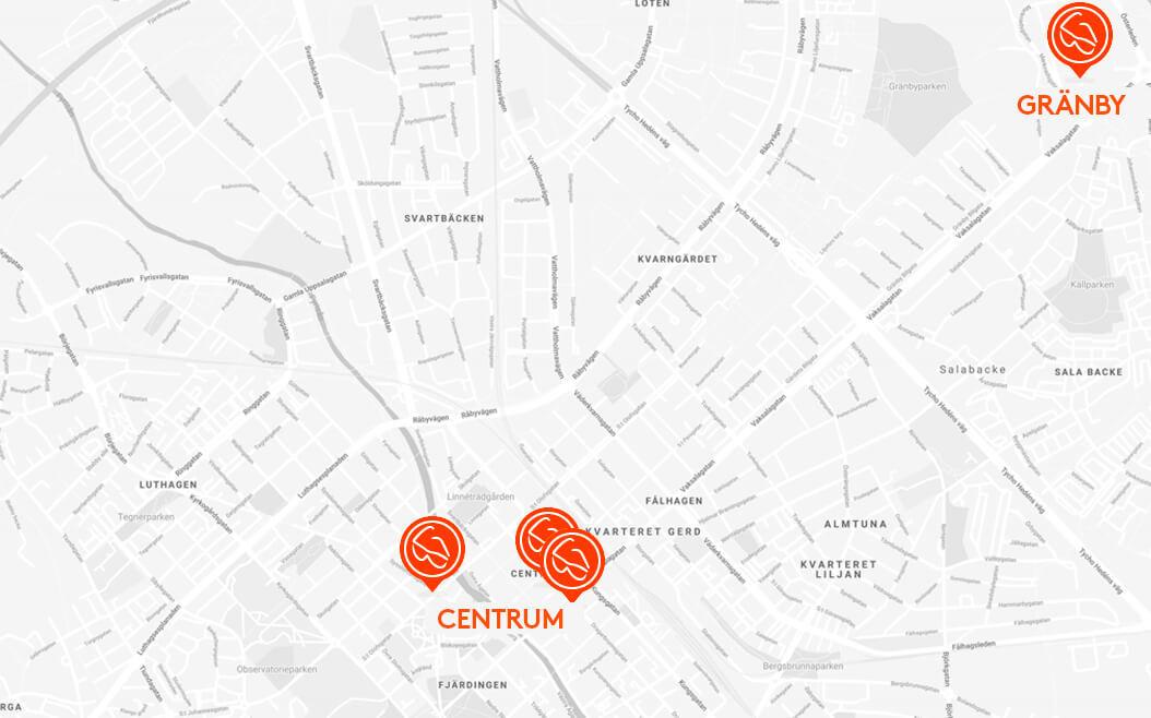 Optiker i Uppsala Karta